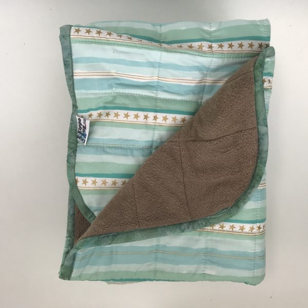 $300 40x60 18lbs Teal Lines - Cotton Magic Lines with Cuddle Brown- Hippo Hug Weighted Blankets- Compared at $330 Save $30