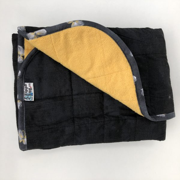 $165 30x40 10lbs Black and Yellow- Cotton Onyx with Cuddle Saffron- Hippo Hug Weighted Blankets- Compared at $190 Save $25