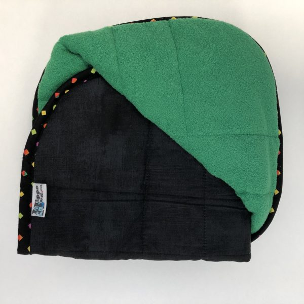 $165 30x40 9lbs Envy- Cotton Onyx with Cuddle Bright Green- Hippo Hug Weighted Blankets- Compared at $185 Save $20