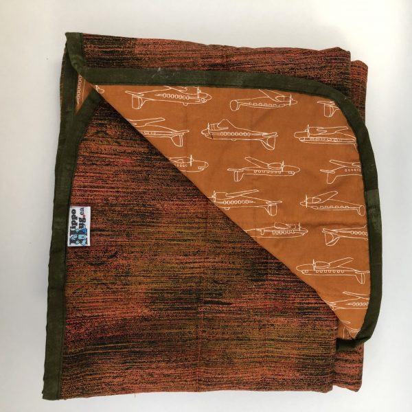$235 40x50 6lbs High Flying- Cotton Burnt Orange with Organic Cotton Planes- Hippo Hug Weighted Blankets- Compared at $250 Save $15