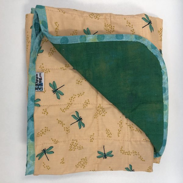 $260 40x50 12lbs Dragonflies- Organic Cotton Dragonflies with Cotton Kelly Green- Hippo Hug Weighted Blankets- Compared at $280 Save $20
