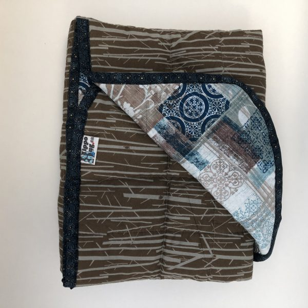 $285 40x50 14lbs Wood Work- Organic Cotton Perch Bark with Cotton Multi Wing Plaid- Hippo Hug Weighted Blankets- Compared at $295 Save $10