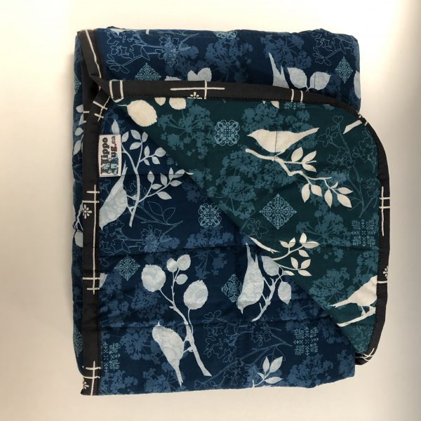 $300 40x60 15lbs Blue Birds- Cotton Teal Shadow Birds with Cotton Blue Shadow Birds- Hippo Hug Weighted Blankets- Compared at $315 Save $15