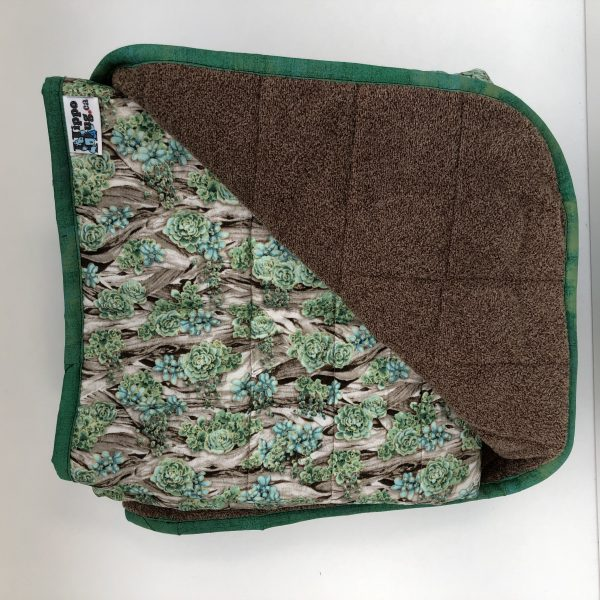 $390 45x70 23lbs Green Thumb- Cotton Plant Life with Cuddle Two Tone Mocha- Hippo Hug Weighted Blankets- Compared at $430 Save $40