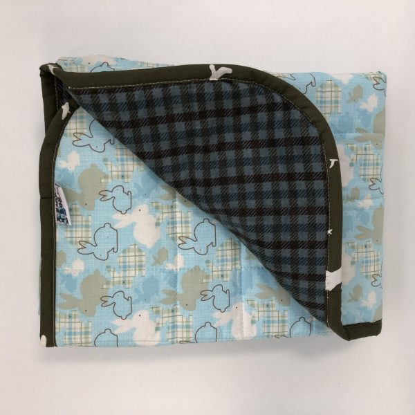 $145 30x40 5lbs Bunny Hop- Cotton Bunny Hop with Flannel Steel Plaid- Hippo Hug Weighted Blankets- Compared at $160 Save $15