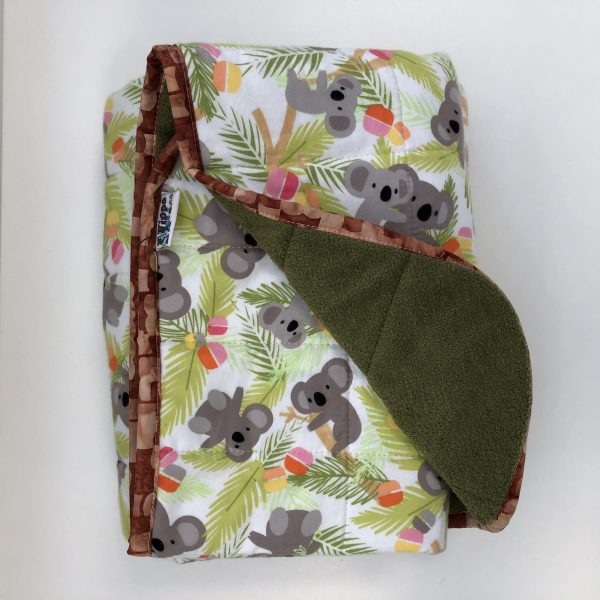$235 40x50 8.5lbs Koala- Flannel Koalas with Cuddle Olive- Hippo Hug Weighted Blankets- Compared at $260 Save $25