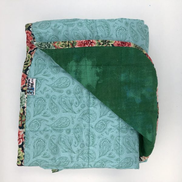 $330 40x70 13lbs Paisley- Cotton Teal Paisley with Cotton Leprechaun- Hippo Hug Weighted Blankets- Compared at $345 Save $15