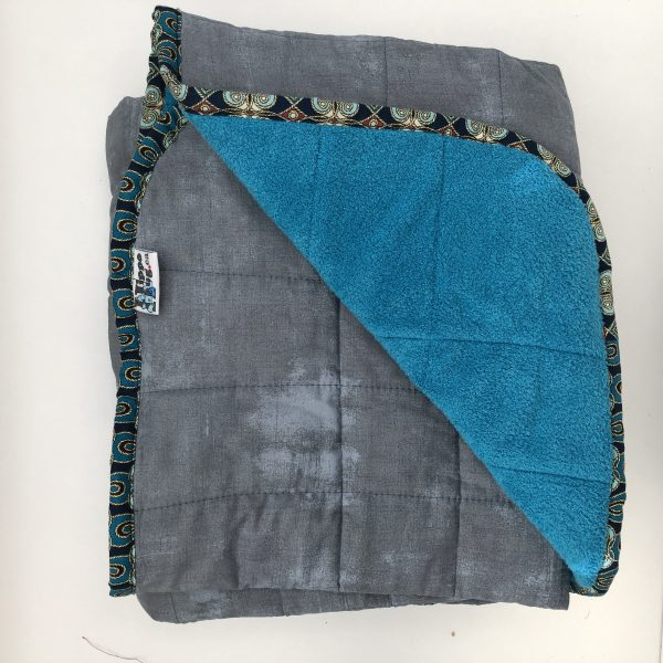 $350 40x70 22lbs Grey and Blue- Cotton Smoke with Cuddle Turquoise- Hippo Hug Weighted Blankets- Compared at $380 Save $30
