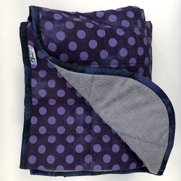 $360 45x70 16lbs Purple Polka-dots- Cotton Eggplant Spots with Cuddle Two Tone Grey and White- Hippo Hug Weighted Blankets- Compared at $395 Save $35