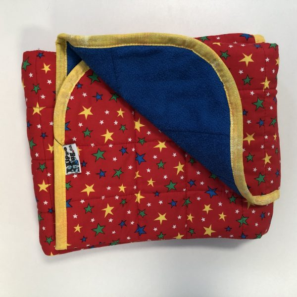 $145 30x40 5lbs Stars- Cotton Red Stars with Cuddle Bright Blue- Hippo Hug Weighted Blankets- Compared at $165 Save $20
