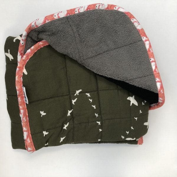 $165 30x40 9lbs The Hunt- Organic Cotton Flight Green with Mixed Cuddle Grey, Black, Orange- Hippo Hug Weighted Blankets- Compared at $195 Save $30