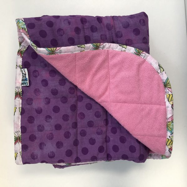 $300 40X60 15lbs Purple Spots- Cotton Grape Dots with Cuddle Pink- Hippo Hug Weighted Blankets- Compared at $320 Save $20