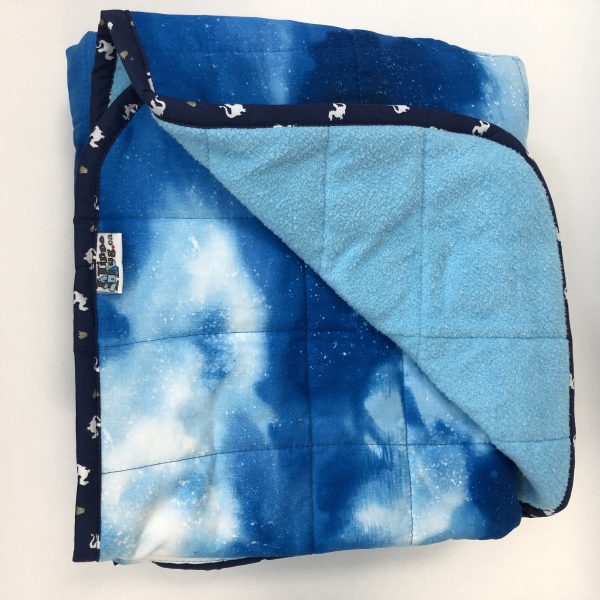 $300 40x60 15.5lbs Clear Sky- Cotton Blue Sky with Cuddle Bright Blue- Hippo Hug Weighted Blanket- Compared at $320 Save $20