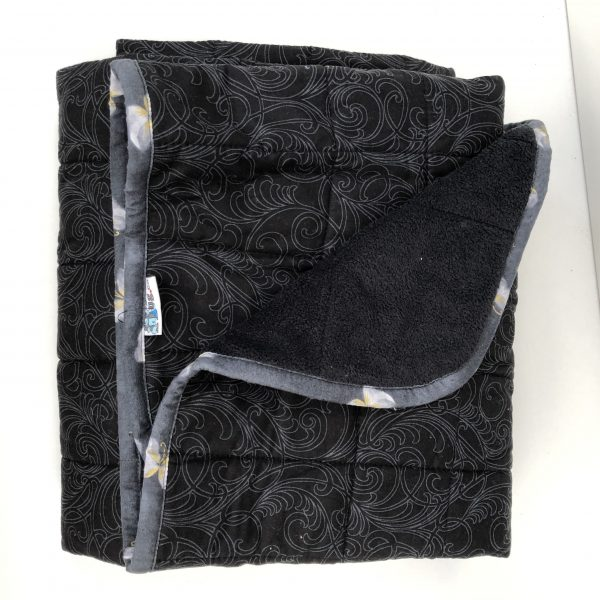 $300 40x60 15lbs Simplicity- Cotton Black Swirl with Cuddle Black- Hippo Hug Weighted Blankets- Compared at $320 Save $20