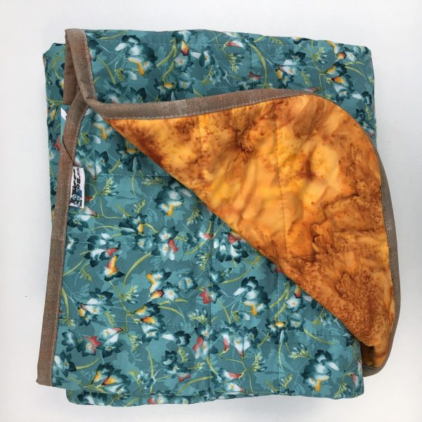 $330 40x70 14lbs Spring Bloom- Cotton Teal Flowers with Cotton Curry- Hippo Hug Weighted Blankets- Compared at $350 Save $20