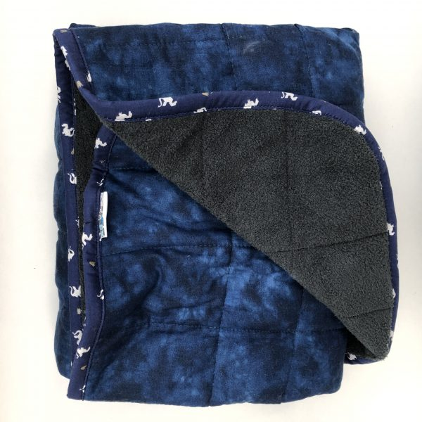 $380 40x70 31.5lbs Navy- Cotton Navy with Cuddle Dark Grey- Hippo Hug Weighted Blankets-Compared at $430 Save $50