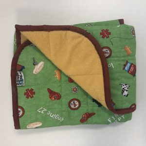 Sale Price $130 Stock Price $145 30x40 5lb Firefighter- Cotton Green Firefighter with Cuddle Safron- Hippo Hug Weighted Blankets- Compared at $165 Save $20