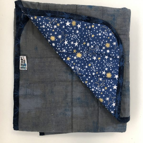 $235 Short Weighted Blanket (40x50 Inches) 6.5lbs Sweet Dreams- Cotton Excallabar with Cotton Royal Blue Magic Stars- Hippo Hug Weighed Blankets- Compared at $245 Save $10