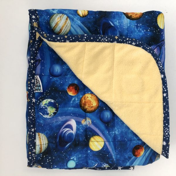 $235 Short Weighted Blanket (40x50 Inches) 7lbs Space- Cotton Planets with Cuddle Canary Yellow- Hippo Hug Weighed Blankets- Compared at $250 Save $15