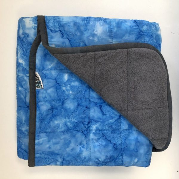 $285 Short Weighted Blanket (40x50 Inches) 15.5lbs Azure- Cotton Azure with Cuddle Dark Grey- Hippo Hug Weighted Blankets- Compared at $300 SAVE $15
