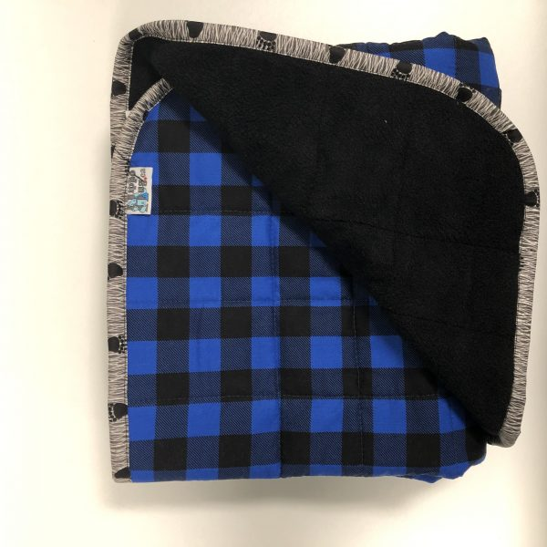$235 Short Weighted Blanket (40x50 Inches) 7lb Little Lumberjack- Cotton Blue Buffalo Check with Black Cuddle- Hippo Hug Weighed Blanket- Compared at $250 Save $15