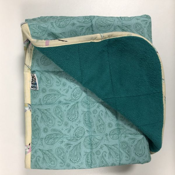 $270 Twin Weighted Blanket (40x60 Inches) 10lbs Pastel Paisley- Cotton Teal Paisley with Cuddle Lagoon- Hippo Hug Weighted Blankets- Compared at $295 Save $25