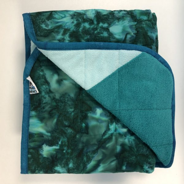 $350 Tall Weighted Blanket (40x70 Inches) 17.5lb Stormy- Cotton Viridian with Mixed Teal Cuddle- Hippo Hug Weighted Blankets- Compared at $370 Save $20