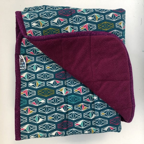 $350 Tall Weighted Blanket (40x70 Inches) 18lbs Geo Print- Cotton Geo Print with Cuddle Fuchsia- Hippo Hug Weighed Blankets- Compared at $370 Save $20