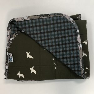 $145 Lap Weighted Blanket (30x40 Inches) 4.5lbs Flight- Organic Cotton Flight with Flannel Steel Plaid- Hippo Hug Weighted Blankets- Compared at $160 Save $15