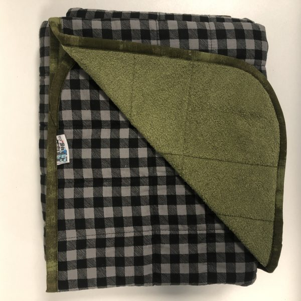 $270 Twin Weighted Blanket (40x60 Inches) 10lbs Grey Plaid- Cotton Grey Plaid with Cuddle Olive- Hippo Hug Weighted Blankets- Compared at $295 Save $25