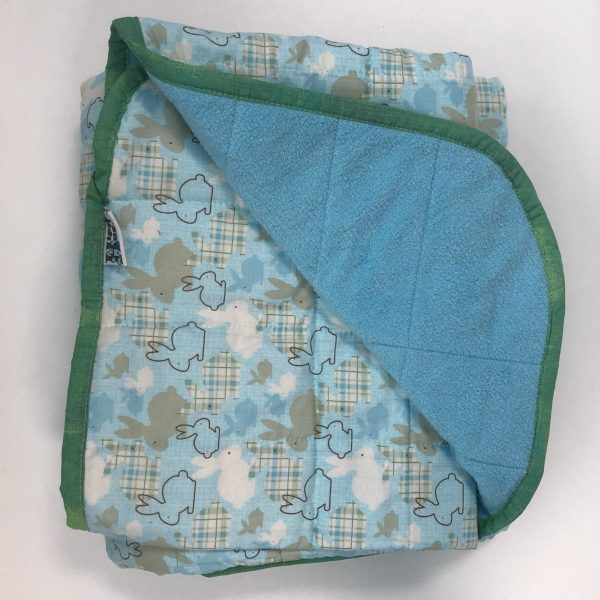 $300 Twin Weighted Blanket (40x60 Inches) 15lbs Spring Hops- Cotton Bunny Hop with Cuddle Baby Blue- Hippo Hug Weighted Blanket- Compared at $320 Save $20