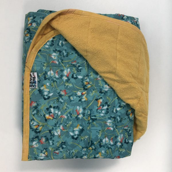 $300 Twin Weighted Blanket (40x60 Inches) 18lbs Flowering- Cotton Teal Roses with Cuddle Saffron- Hippo Hug Weighted Blankets- Compared at $330 Save $30