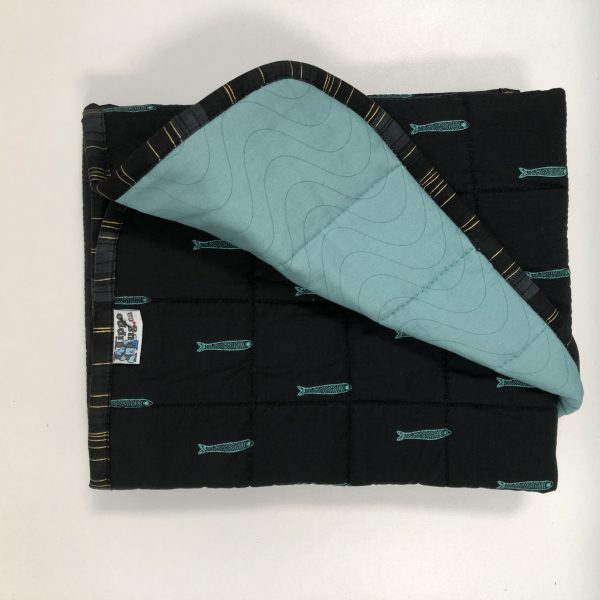 $145 Lap Weighted Blanket (30x40 Inches) 5lbs 1 Fish Blue Fish- Cotton Blackfish with Cuddle Ocean Spray- Hippo Hug Weighed Blankets- Compared at $165 Save $20