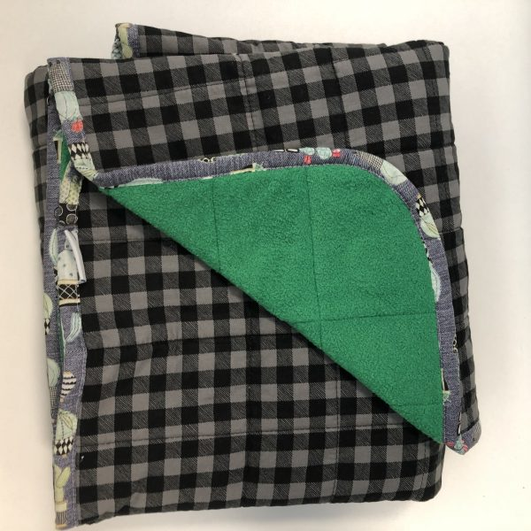 $235- Short Weighted Blanket (40x50) 7lbs Grey Plaidl- Cotton Grey Plaid with Bright Green Cuddle- Hippo Hug Weighted Blankets- Compared at $250 Save $15.JPG- Most Popular Kids