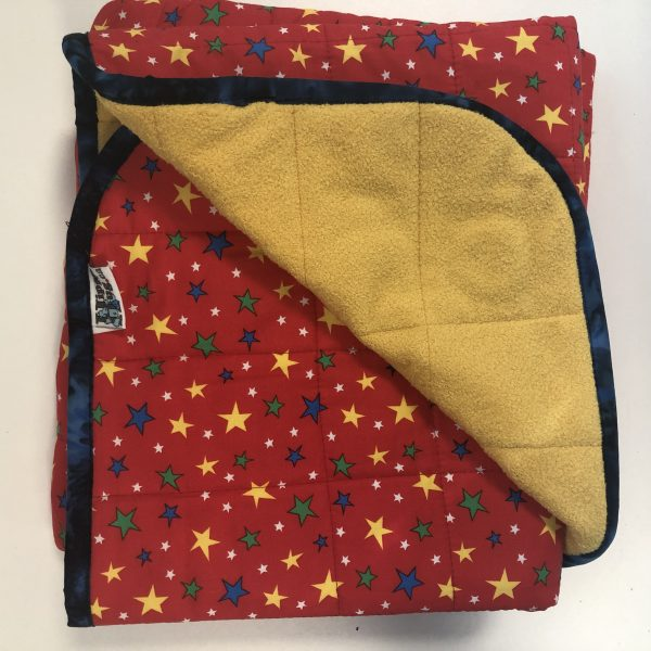 $235 Short Weighted Blanket (40x50 Inches) 7lbs Star Bright- Cotton Red Stars with Cuddle Saffron- Hippo Hug Weighted Blankets- Compared at $250 Save $15