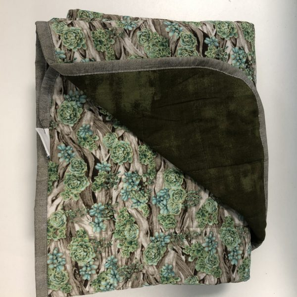 $300 Twin Weighted Blanket (40x60 Inches) 18lbs Green Succulents- Cotton Plant Life with Cotton Riffle- Hippo Hug Weighted Blankets- Compared at $325 Save $25