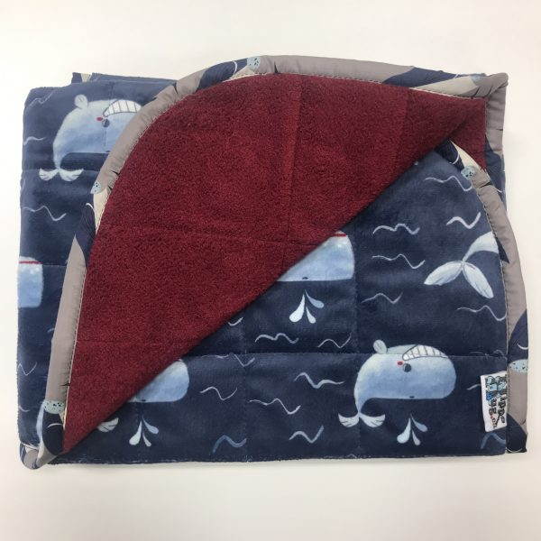$145 Short Weighted Blanket (30x40) 5lbs - Happy Whale -Cuddle Merlot - compared at $160 save $15