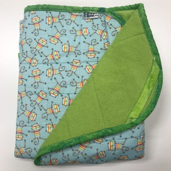 $205 Short Weighted Blanket (30x50) 6lbs - Happy Cat - Cuddle Bright Green