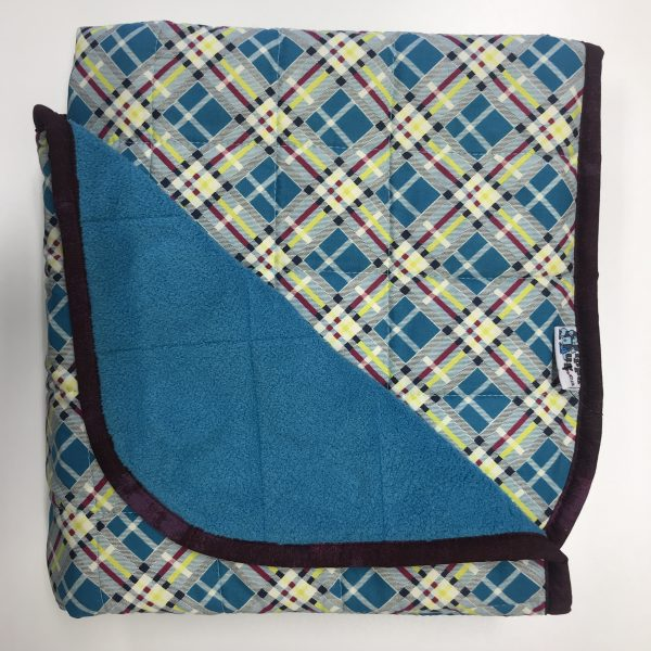 $260 Short Weighted Blanket (40x50) 11.5 lbs Retro - Cotton Retro Plaid Cuddle Turquoise - compare at $270 save $10